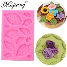 DIY Rose Leaf Fondant Cake Decorating Tools Cake Border Cupcake Silicone Molds Gumpaste Chocolate Candy Clay Moulds XL339(China)