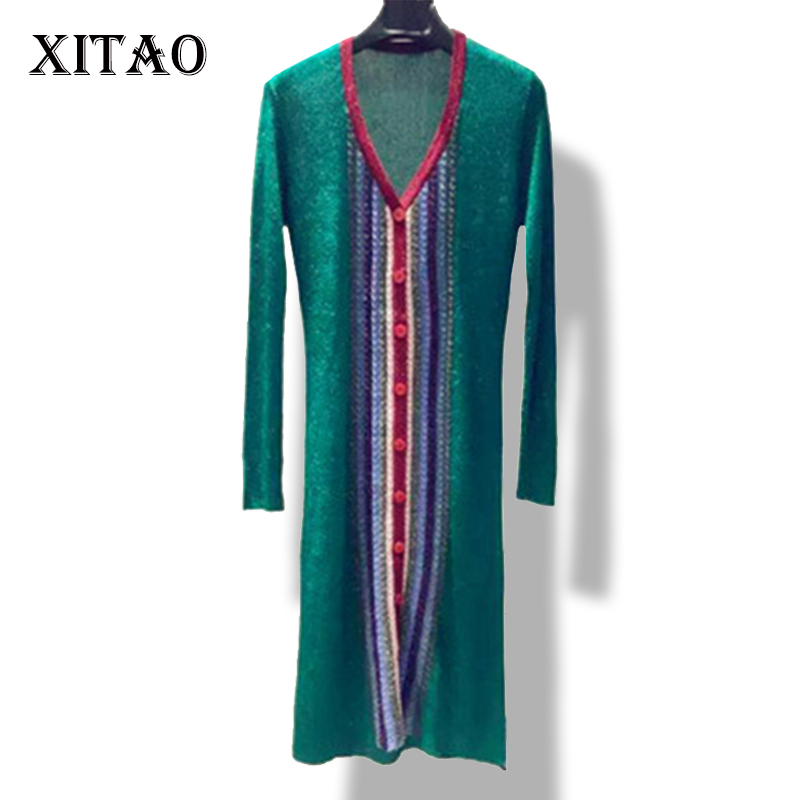 [XITAO] NEW autumn womens mid-calf length straight form open stitch single breasted V-neck striped knitted dresses SSB-055Îäåæäà è àêñåññóàðû<br><br>