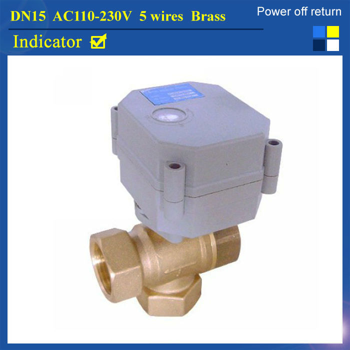 DN15 AC110-230V 5 Wires TF15-B3-C NPT/BSP 1/2  Normal Closed Valve 3-Way Valve T Type Brass Power Off Retrun CR502<br><br>Aliexpress