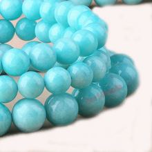 "Factory price Natural Stone Aqua Amazonite Round Loose Beads 16"" Strand 4 6 8 10 12 MM Pick Size For Jewelry Making"