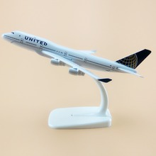16cm American Air United Airlines Boeing 747 B747 400 Airways Plane Model Aircraft Airplane Model w Stand Craft Gift(China)