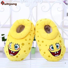 New Winter Warm Women's Indoor Shoes SpongeBob Bulk Chinchilla Cotton Shoes Home Slippers Plush Soft Bottom Non-slip Floor Shoes