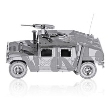 3D Metal Puzzle DIY Army Equipment Armed Hummer Off-road Jeep Model With Machine Gun Jigsaw  Educational Fascination Toys TK0028