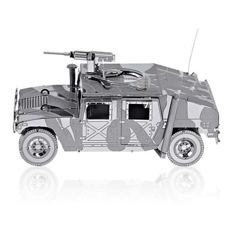 3D Metal Puzzle DIY Army Equipment Armed Hummer Off-road Jeep Model With Machine Gun Jigsaw  Educational Fascination Toys TK0028<br><br>Aliexpress