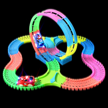 128/130/249/251pcs set 360 loop action glow in dark tracks car with light electronic car,racing rail car flexible tracks DIY toy(China)