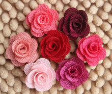 Mini Burlap Flowers,Fabric Flower, Rosettes, DIY, Hair Accessories Girls Headbands(China)