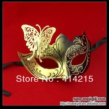 Hot Sell New Design Black Gold Venetian Metal Mask, Butterfly Woman Masquerade Mask Wholesale Free Shipping