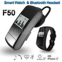 Smart Band Bluetooth Headset F50 Smartband Bracelet Heart Rate Monitor Tracker Watch Mp3 Player TF Wearable Devices VS Mi Band 2