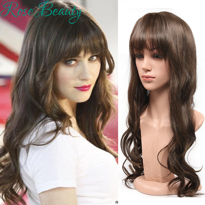 fashion brown wig cosplay long curly wigs oblique bangs synthetic wigs heat resistant with highlights ombre cheap wigs for women<br><br>Aliexpress
