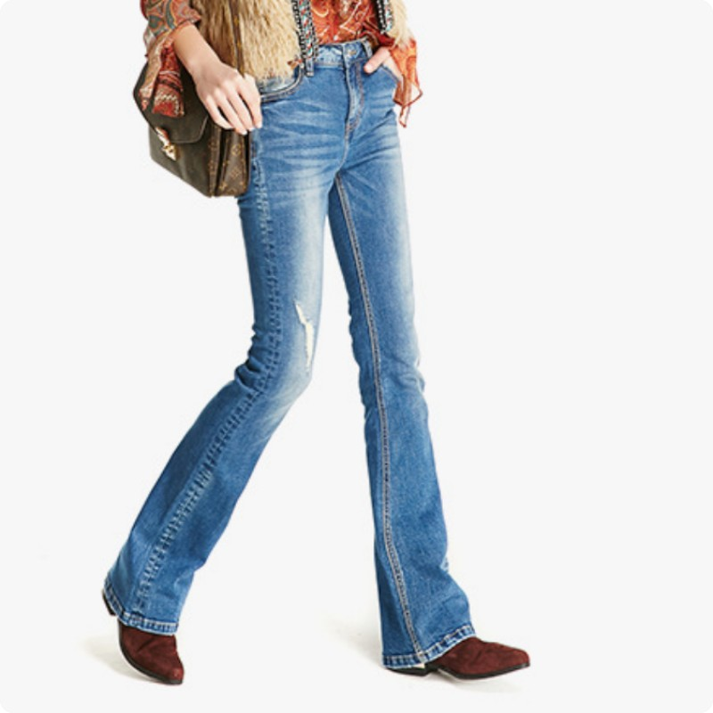 European New Fashion Flare Womens Pants Female Retro Hole Ripped Slim Fit Casual Jeans Calca Feminina Pantalon Femme TrousersÎäåæäà è àêñåññóàðû<br><br>