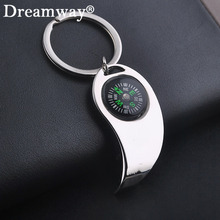 Beer bottle opener keychains compass key rings multifunction key chains fashion man car key holder birthday gift drop shipping