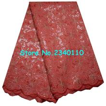 Special Knitted High quality Gold Sequin African Double organza lace with hand cut ,Swiss Cotton Organza with Stones!YD2416(China)