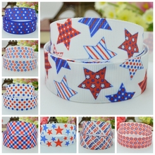 "DUWES 7/8"" 22mm 4TH of July Independence Day red white blue Patriotic Printed grosgrain ribbon DIY hairbow 50YD(China)"
