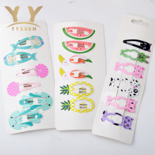 1 card=6 pieces Kids Party Gifts Girls Cartoon Cute Hair Clip Ice cream Hairpin Hair Accessories(China)