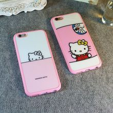 New Mobile Phone Case Cartoon Hello Kitty Design Soft Case For Iphone 6 6s With A Hang Rope Back Case Cover