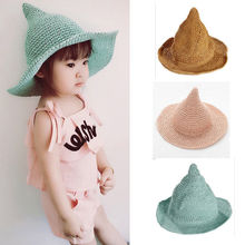 pudcoco Cute Babies Newborn Infant Toddlers Baby Hot Summer Sun Beach Floppy Derby Folding Witch Hat Wide Large Brim Straw Hats(China)