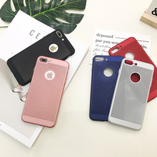 Plastic solid net PC Phone Case For Apple iPhone 5 5s 6 6s 6plus 7 7plus Back Cover 5 colors Hot simple design Free Shipping
