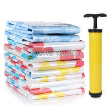 Free shipping! 10 pieces of vacuum storage bag plus 1 pc of hand air pump, Space saving bag for clothing and bedding storage bag