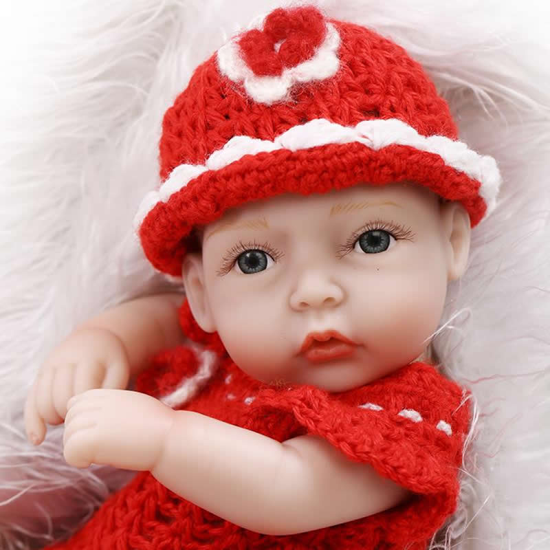 With Red Clothes Newborn Baby Girl Full Silicone Vinyl 11 Inch Lifelike Reborn Babies Tiny Boneca Kids Birthday Xmas Gift<br><br>Aliexpress