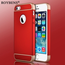 Roybens 2016 Hot Sale 3 in 1 Case For iPhone 5 5S SE Luxury Red Phone Cases PC Plating Hard Plastic Cover For iPhone SE Case(China)