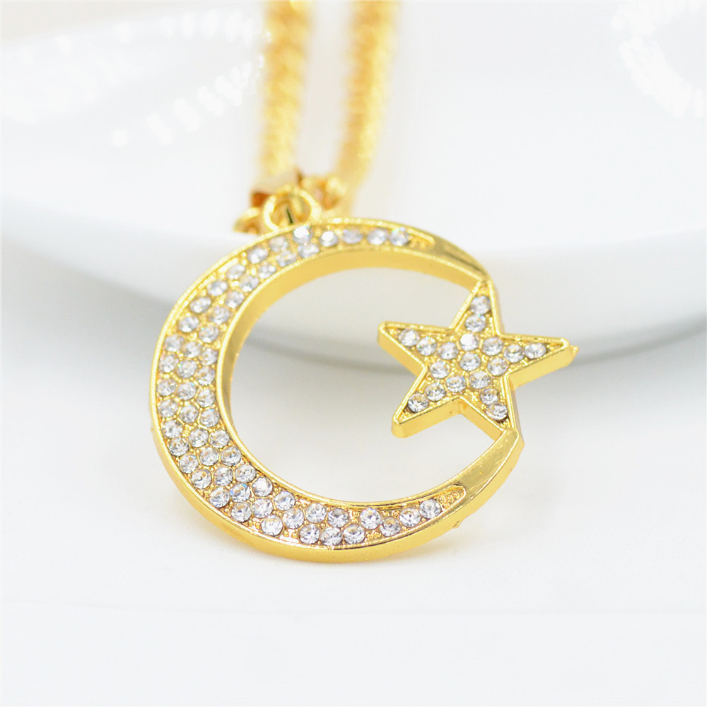 Uodesign New Hip Hop Crystal  Moon  Star Pendant Necklace Jewelry 75cm Gold Color  Link Chain