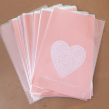 50pcs 13x19cm Pink White Heart Lace Bakery Cookie Candy Sweet Biscuit Gift Soap Favor Cello OPP Plastic Bag Wedding Decorations