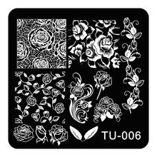 Nail Art Stamp Stamping Image Plate Polish Print Manicure Nail Design Stencil Tools Rose Flower Vine Leaf TU-006