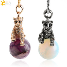 CSJA Hot Men Women Running Leopard Necklace Gold Color Rhinestone Beads Pendant Carved Section Natural Stone Bead Jewelry E483(China)