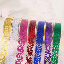 1Pcs DIY Self Adhesive Tape Sticker Wholesale 7 Colors creative Washi Lace Roll Decorative Sticky Ribbon(China)