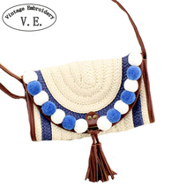 Vintage Women Day Clutch Small Hippie Cross Body Bohemian Woven Straw Bag Handmade Indian Knitted Beach Shoulder Messenger Bag
