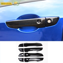 FIT FOR 2016 2017 HONDA CIVIC CHROME CARBON FIBER STYLE SIDE DOOR HANDLE COVER WITH SMART KEY HOLE TRIM MOLDING OVERLAY GARNISH(China)