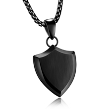 Male Accessories Charm Fashion Jewelry Punk Style 3 Colors Smooth shield Shape Pendant Stainless Steel Men Necklaces GX1170