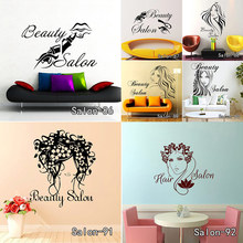 Nail Bar Shop Wall Sticker Hair Beauty Salon Wall Art Decal DIY Home Decoration Mural Removable Home Decor Free Shipping(China)
