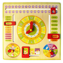 Baby Kids Children Educational Wooden Puzzle Toys Multi-function Digital Alarm Clock Calendar Learning Jigsaw Toys Geometry Toys