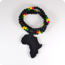 Infinite Black Africa Map Good Wood NYC X Chase Wooden Beads Necklace Hip Hop Fashion Jewelry