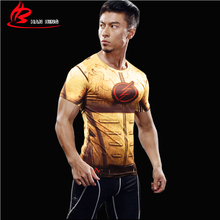 2017 Hot sale 3D T-shirts Printed Men Raglan Short sleeve Compression Shirt Superhero The Flash Cosplay Costume Fitness Clothing