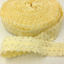 "10yards/Lot 7/8"" Frilly Edges Elastic Webbing, Picot Edges Stretch Lace for Girls Headband Headwear Hair Accessories L28 Beige(China)"