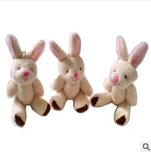 Y92 free shipping 7.5CM=3inch small size cheap mini rabbit jointed plush stuffed doll bouquet toy wholesale 20pcs/lot
