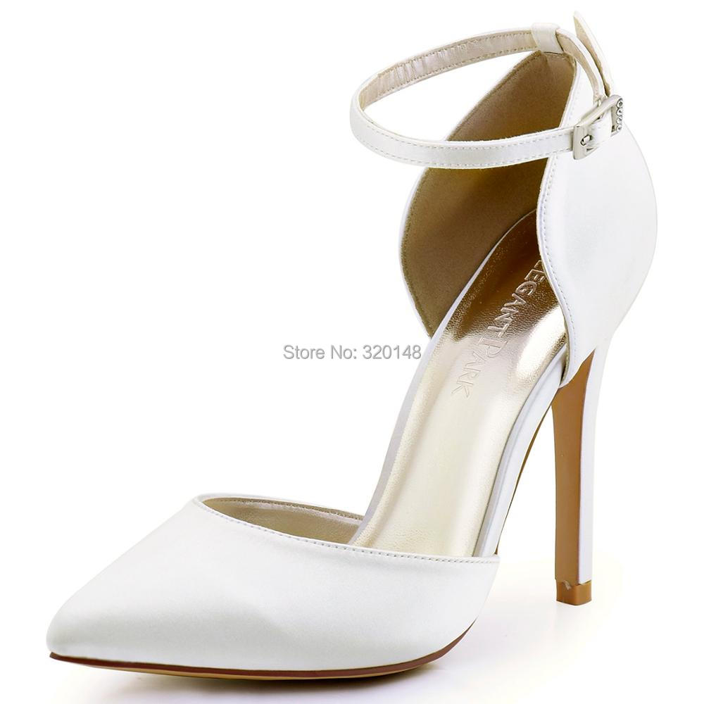 Women High Heel Evening party Pumps Ivory Hot pink Pointed Toe Ankle Strap Satin Bridesmaid Wedding Bridal Shoes Burgundy HC1602<br>