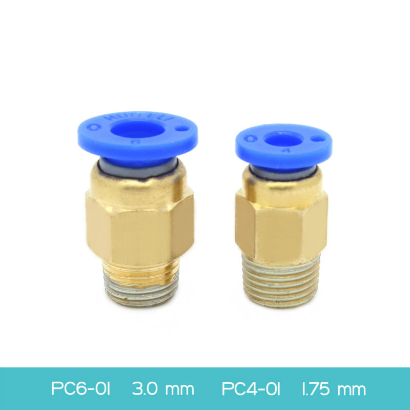 5pcs 3D Printer Pneumatic Connectors PC4-01 1.75mm or PC6-01 3.0mm PTFE Tube quick coupler, j-head hotend Fit Freeshipping!!!<br><br>Aliexpress