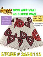 Free shipping! African super wax fabric. 100% cotton! High quality 40*40 fabric veritable dutch wax 6 yards/pc-JB-515