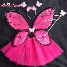 Beautiful Fantasy Fairy Angel Butterfly Wings + tutu skirt Child Girls Christmas Halloween Party Cosplay Costumes 4 piece Set(China)