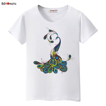 BGtomato New product Beautiful peacock printing t shirt Hot sale woman's fashion trend shirts Brand comfortable casual tops