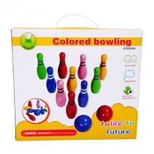 Children wooden bowling ball game toys with English/ Kids Child classic bowling toy with 10 bowling and 2 balls, free shipping(China)
