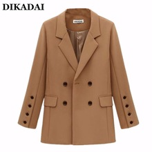 Plus Size Blacks and Jackets for Women 2017 Fall Fashion Khaki double breasted blazer outwear OL Elegant Ladies Work Wear(China)