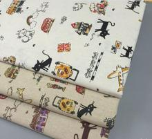 New! 155x95CM Zakka Linen Cotton Fabric Cute Cat Printed Linen Fabric Woven Patchwork Sewing DIY Cloth Bag Accessories