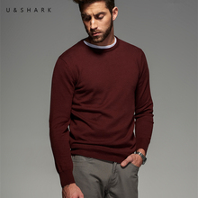 Super Thin Cotton Knitted Sweater Men Long Sleeve Designer Red Pullovers Luxury U&Shark Fashion Patch Style O-Neck Sweater Male
