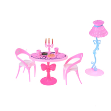 17PCS/Set Hot Sale Pink Vintage Table Chairs For Barbie Dolls Furniture Dining Sets Toys For Girl Kid Child