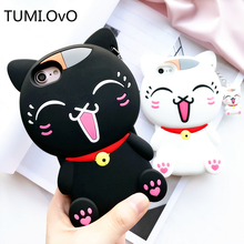 3D Silicon Seal Cute Fortune Cat Girl Love Pendant Fringe Phone Cases For iphone 6 6s 6plus 7 7Plus cartoon Soft TPU back cover(China)