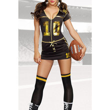 New Sport Role Play Costumes Set Adult Cheerleaders Player Club Football Costume Mini Dress with Stocking Lc8963